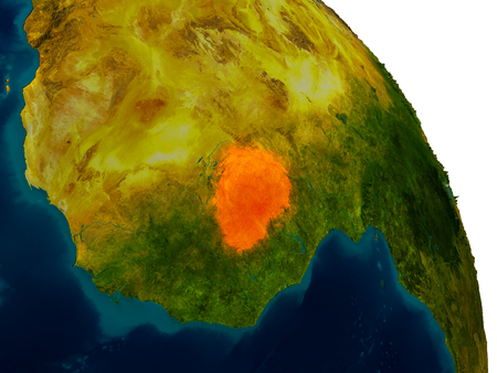 Burkina Faso highlighted in red on detailed model of planet Earth. 3D illustration. Stock Photo