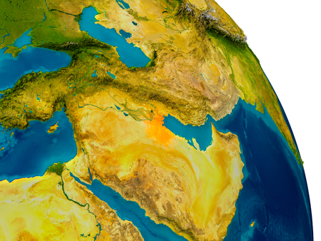 Kuwait highlighted in red on detailed model of planet Earth. 3D illustration.