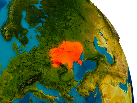Ukraine highlighted in red on detailed model of planet Earth. 3D illustration.