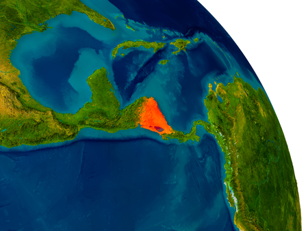 nicaragua: Nicaragua highlighted in red on detailed model of planet Earth. 3D illustration.