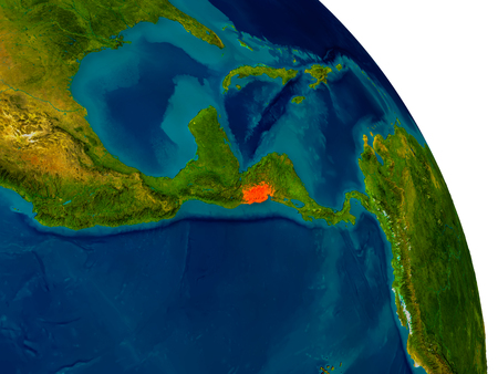 mapa de el salvador: El Salvador highlighted in red on detailed model of planet Earth. 3D illustration. Elements of this image furnished by NASA.
