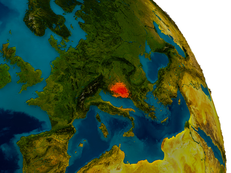 Bosnia highlighted in red on detailed model of planet Earth. 3D illustration.