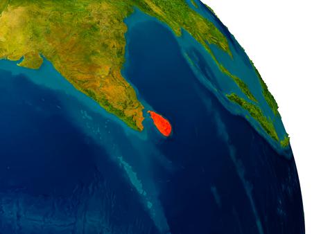 Sri Lanka highlighted in red on detailed model of planet Earth. 3D illustration.