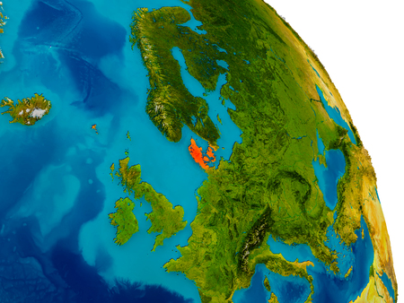 Denmark highlighted in red on detailed model of planet Earth. 3D illustration.