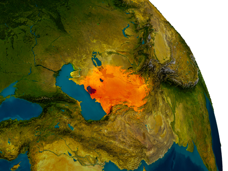 Turkmenistan highlighted in red on detailed model of planet Earth. 3D illustration.