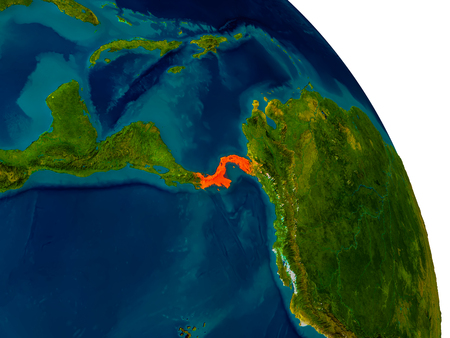 Panama highlighted in red on detailed model of planet Earth. 3D illustration. Stock Photo