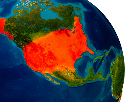 physical geography: USA highlighted in red on detailed model of planet Earth. 3D illustration.