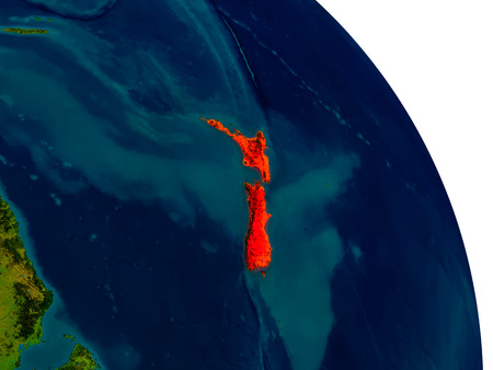 physical geography: New Zealand highlighted in red on detailed model of planet Earth. 3D illustration. Stock Photo