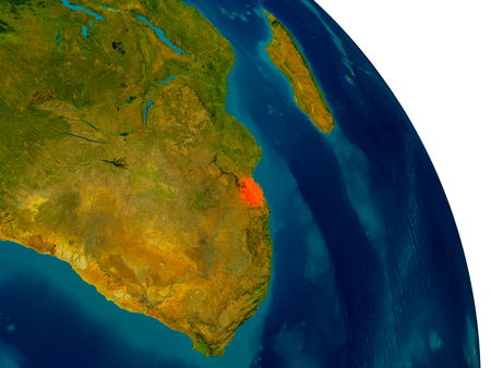 Swaziland highlighted in red on detailed model of planet Earth. 3D illustration. Stock Photo
