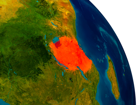 Tanzania highlighted in red on detailed model of planet Earth. 3D illustration. Stock Photo