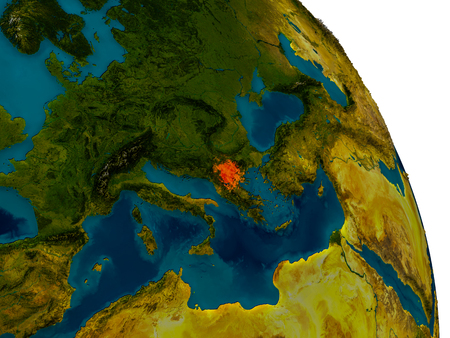 Macedonia highlighted in red on detailed model of planet Earth. 3D illustration. Stock Photo