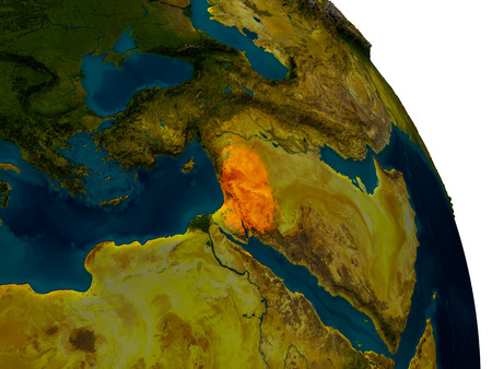 Jordan highlighted in red on detailed model of planet Earth. 3D illustration. Stock Photo