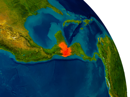 Guatemala highlighted in red on detailed model of planet Earth. 3D illustration.