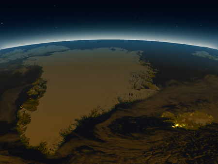 atlantic city: Greenland and Iceland in the evening from Earths orbit in space. 3D illustration with detailed planet surface and city lights. Elements of this image furnished by NASA.