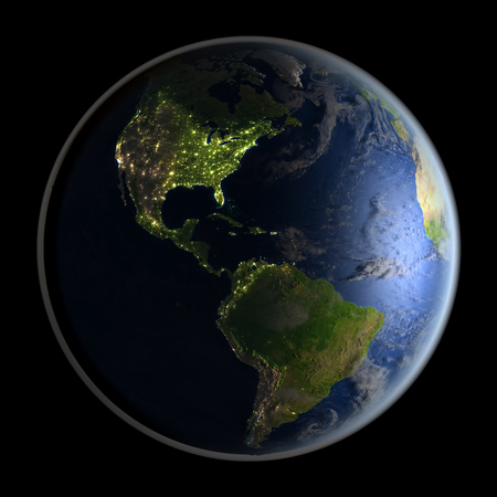 detailed image: Americas from space with visible city lights. 3D illustration with detailed planet surface. Elements of this image furnished by NASA. Stock Photo