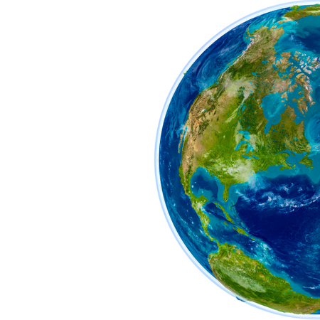 North America on physical model of Earth. 3D illustration with detailed planet surface. Elements of this image furnished by NASA.