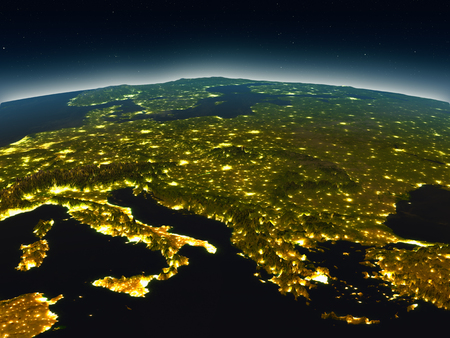 Adriatic sea region in the evening from Earths orbit in space. 3D illustration with detailed planet surface and city lights. Elements of this image furnished by NASA. Stock Photo