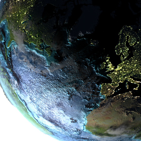 atlantic city: Europe and North America on Earth with detailed planet surface and visible city lights. 3D illustration with white background. Elements of this image furnished by NASA. Stock Photo
