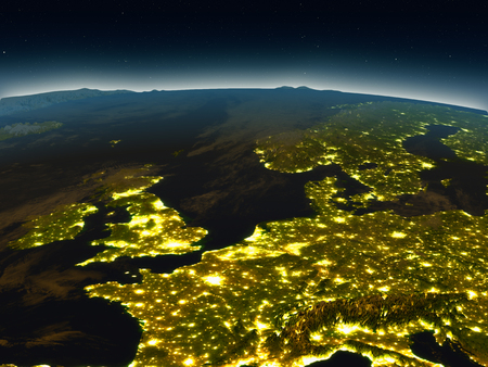 Western Europe in the evening from Earths orbit in space. 3D illustration with detailed planet surface and city lights. Elements of this image furnished by NASA.