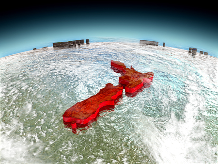 New Zealand in red on model of planet Earth as seen from orbit. 3D illustration with detailed planet surface. Elements of this image furnished by NASA. Stock Photo