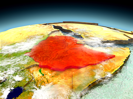 Ethiopia in red on model of planet Earth as seen from orbit. 3D illustration with detailed planet surface. Elements of this image furnished by NASA.