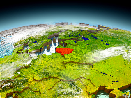 Lithuania in red on model of planet Earth as seen from orbit. 3D illustration with detailed planet surface. Elements of this image furnished by NASA. Stock Photo