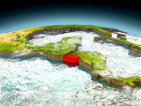 El Salvador in red on model of planet Earth as seen from orbit. 3D illustration with detailed planet surface. Elements of this image furnished by NASA.