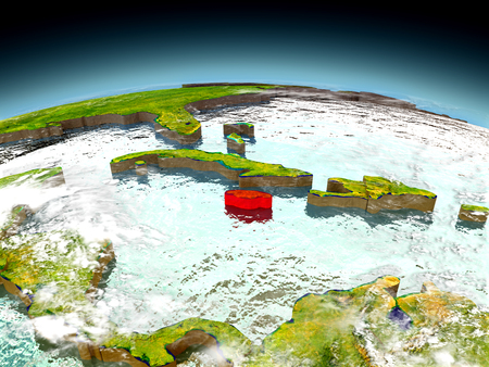 jamaican: Jamaica in red on model of planet Earth as seen from orbit. 3D illustration with detailed planet surface. Elements of this image furnished by NASA. Stock Photo