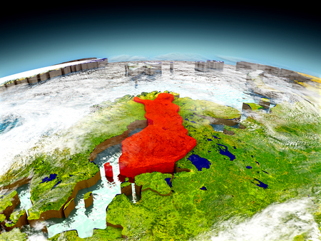 Finland in red on model of planet Earth as seen from orbit. 3D illustration with detailed planet surface. Elements of this image furnished by NASA.