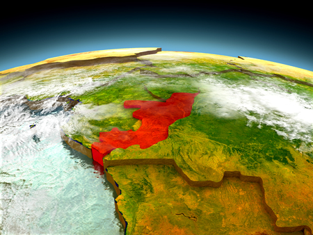 Congo in red on model of planet Earth as seen from orbit. 3D illustration with detailed planet surface. Elements of this image furnished by NASA. Stock Photo
