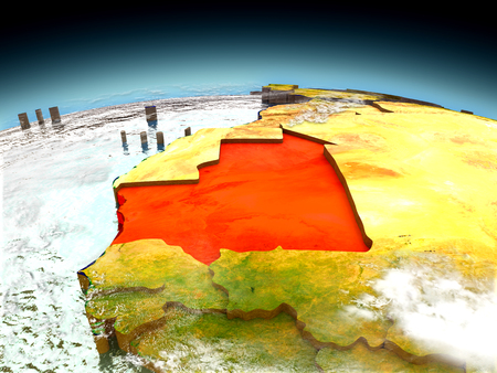 Mauritania in red on model of planet Earth as seen from orbit. 3D illustration with detailed planet surface. Elements of this image furnished by NASA.