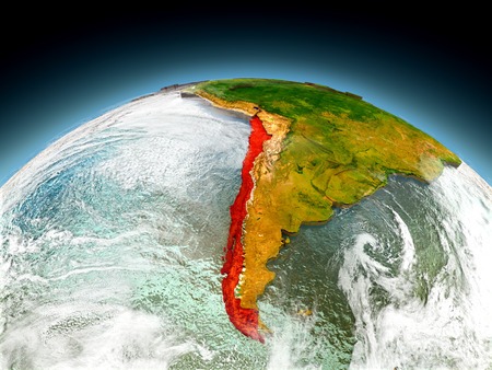 Chile in red on model of planet Earth as seen from orbit. 3D illustration with detailed planet surface. Elements of this image furnished by NASA.