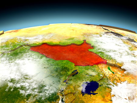 South Sudan in red on model of planet Earth as seen from orbit. 3D illustration with detailed planet surface. Elements of this image furnished by NASA.