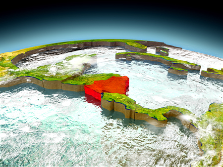 nicaragua: Nicaragua in red on model of planet Earth as seen from orbit. 3D illustration with detailed planet surface. Elements of this image furnished by NASA. Stock Photo