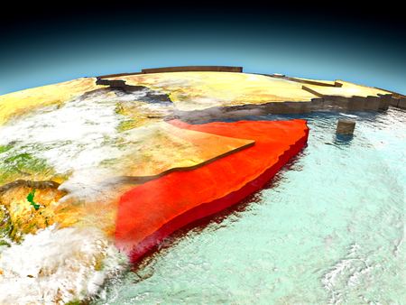 Somalia in red on model of planet Earth as seen from orbit. 3D illustration with detailed planet surface. Elements of this image furnished by NASA. Stock Photo