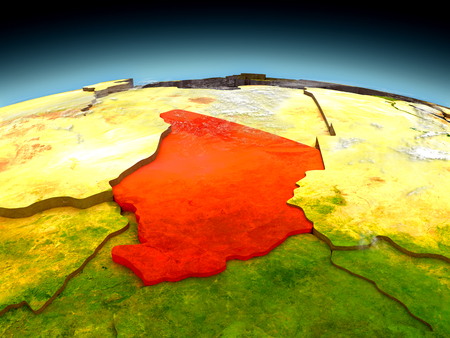 Chad in red on model of planet Earth as seen from orbit. 3D illustration with detailed planet surface.