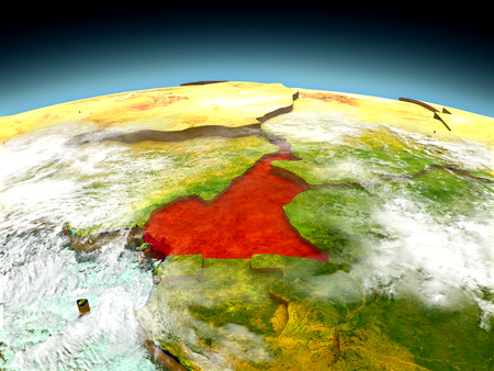 cameroonian: Cameroon in red on model of planet Earth as seen from orbit. 3D illustration with detailed planet surface.