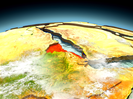 Eritrea in red on model of planet Earth as seen from orbit. 3D illustration with detailed planet surface. Elements of this image furnished by NASA.