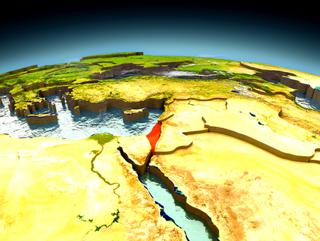 Israel in red on model of planet Earth as seen from orbit. 3D illustration with detailed planet surface. Elements of this image furnished by NASA. Stock Photo