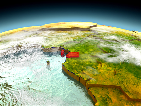 Equatorial Guinea in red on model of planet Earth as seen from orbit. 3D illustration with detailed planet surface. Elements of this image furnished by NASA.