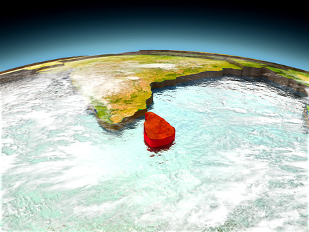 Sri Lanka in red on model of planet Earth as seen from orbit. 3D illustration with detailed planet surface. Elements of this image furnished by NASA. Stock Photo