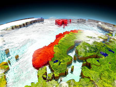 Norway in red on model of planet Earth as seen from orbit. 3D illustration with detailed planet surface. Elements of this image furnished by NASA.