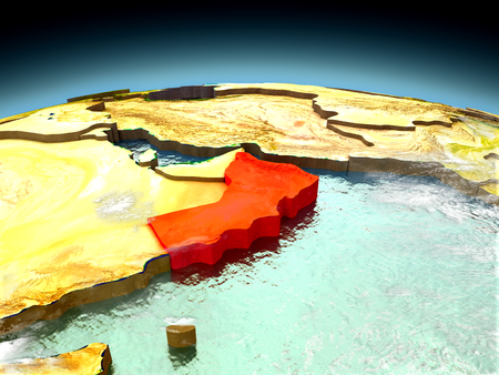 Oman in red on model of planet Earth as seen from orbit. 3D illustration with detailed planet surface. Elements of this image furnished by NASA.