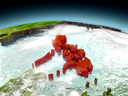Philippines in red on model of planet Earth as seen from orbit. 3D illustration with detailed planet surface. Elements of this image furnished by NASA.