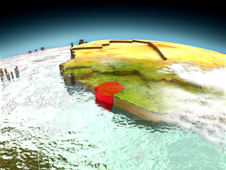 Sierra Leone in red on model of planet Earth as seen from orbit. 3D illustration with detailed planet surface. Elements of this image furnished by NASA. Stock Photo