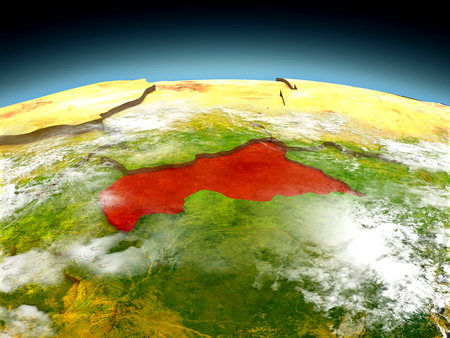 Central Africa in red on model of planet Earth as seen from orbit. 3D illustration with detailed planet surface. Elements of this image furnished by NASA. Stock Photo