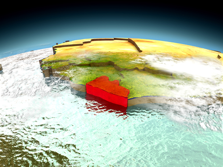 Liberia in red on model of planet Earth as seen from orbit. 3D illustration with detailed planet surface.