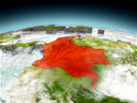 Colombia in red on model of planet Earth as seen from orbit. 3D illustration with detailed planet surface. Stock Photo