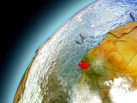 Guinea-Bissau as seen from orbit on model of Earth. 3D illustration with atmosphere and reflective ocean waters. Elements of this image furnished by NASA. Stock Photo