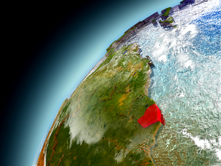 French Guiana as seen from orbit on model of Earth. 3D illustration with atmosphere and reflective ocean waters. Stock Photo